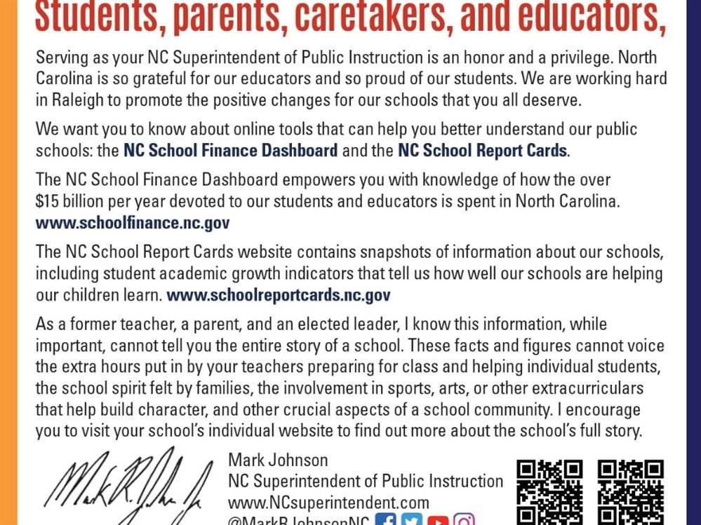 Students, parents, caretakers and educators letter from Mark Johnson, state superintendent