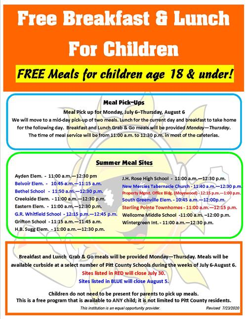 Summer Meals Program flyer