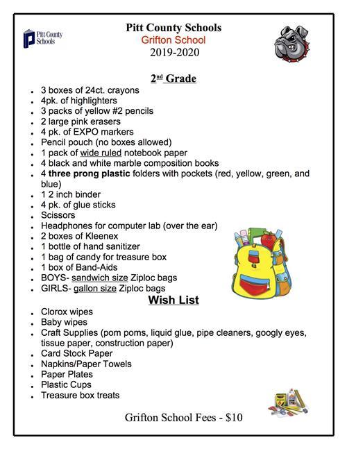 2019-2020 School Supply Lists for Grifton School