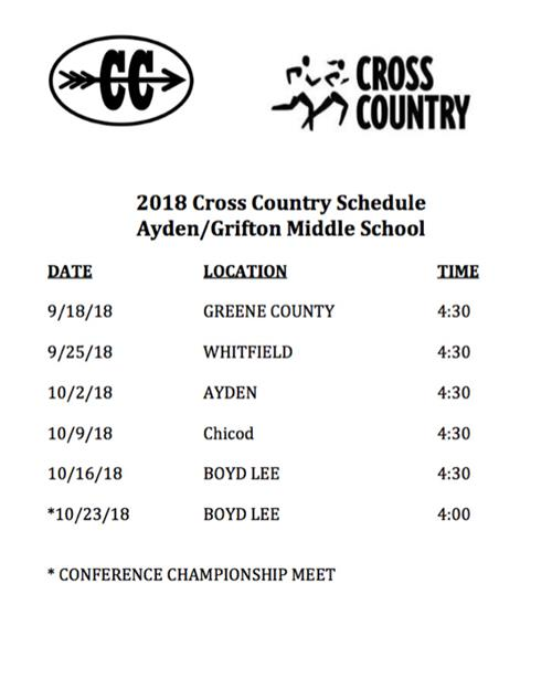 2018 Cross Country Schedule