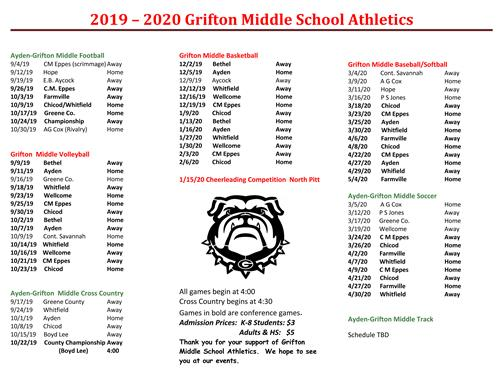 2019-2020 Athletic Schedule