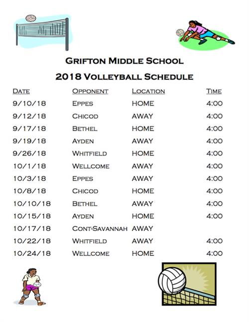 2018 Volleyball Schedule