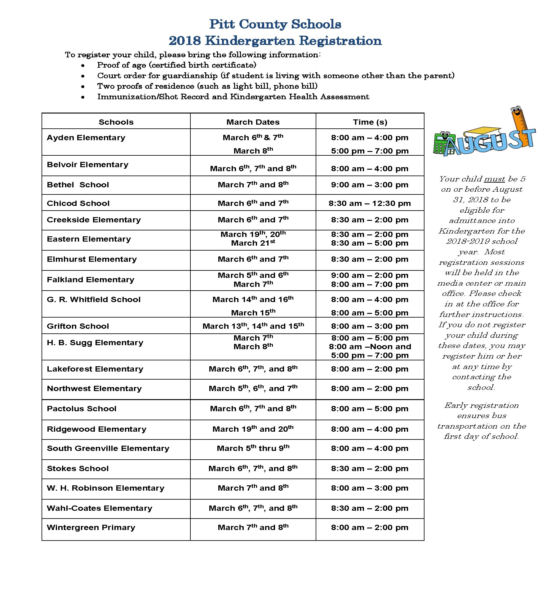 K Registration Schedule 2018